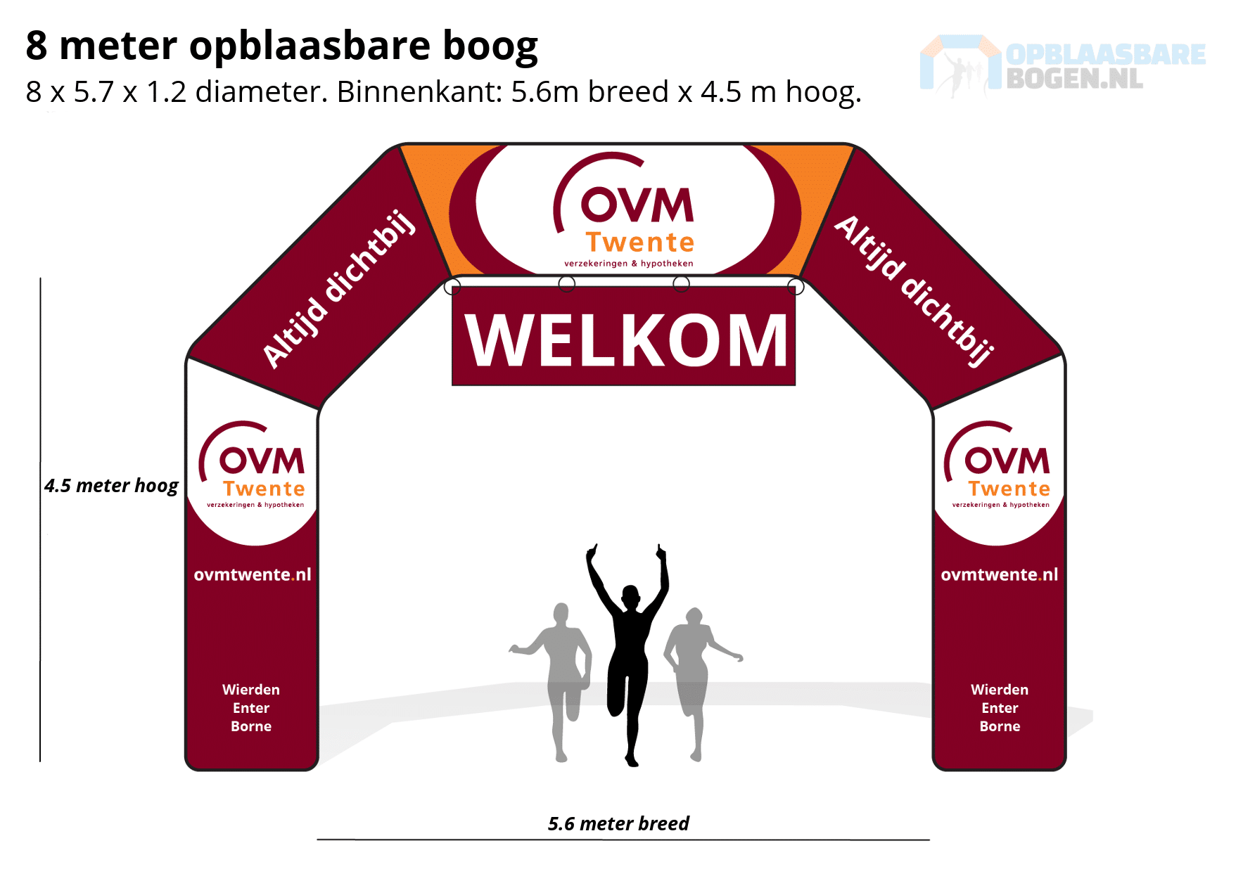 Ontwerp 8 meter Opblaasbare boog voor OVM Twente -Opblaasbarebogen.nl-