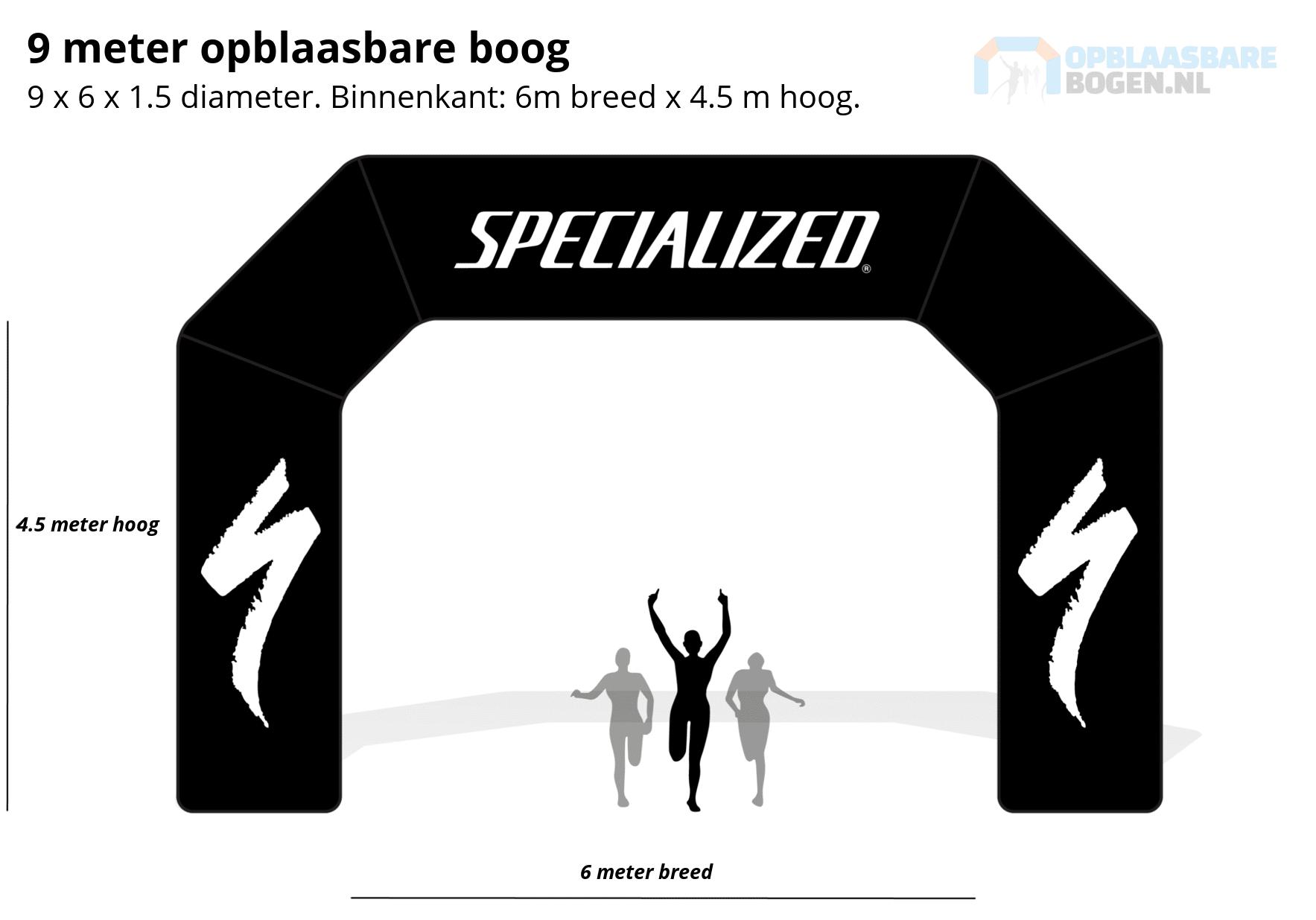 Ontwerp 9 meter Opblaasbare boog voor SPECIALIZED -Opblaasbarebogen.nl-